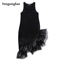 Hongsonghan black cotton asymmetric design stitching gauze dress sleeveless mesh ball gown vest dresses for summer women tide