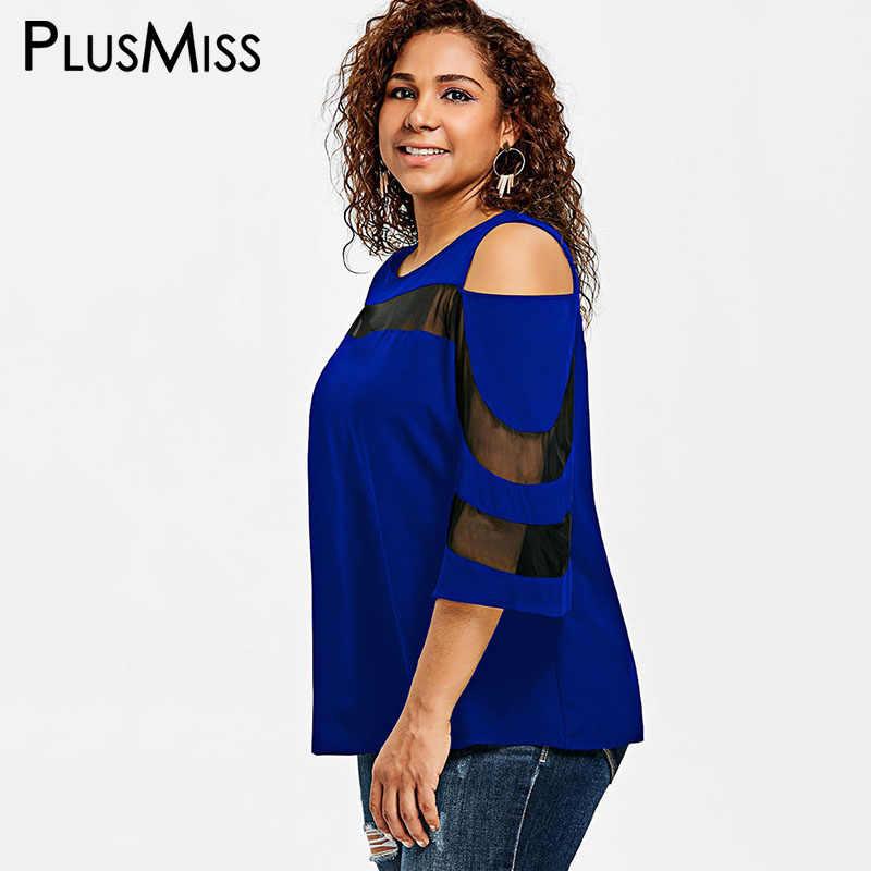 d9efee6ea78 ... PlusMiss Plus Size 5XL 4XL Sexy Open Shoulder See Through Tops Tee  Summer 2018 Women Mesh ...