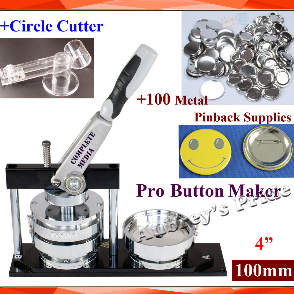 Plastice Adjustable Circle Cutter+100 Sets Metal Pinback Supply Labels, Indexes & Stamps Official Website New Professional N4 2 50mm Badge Button Maker Machine