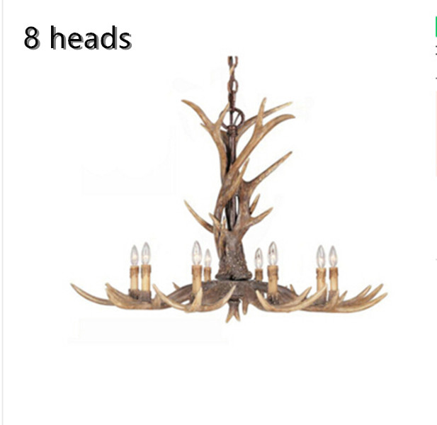 Europe 8 Arms Candle Resin Antler Chandelier American Retro Deer Horn Chandeliers Home Decor Lamp Fixture E14 110-240VEurope 8 Arms Candle Resin Antler Chandelier American Retro Deer Horn Chandeliers Home Decor Lamp Fixture E14 110-240V