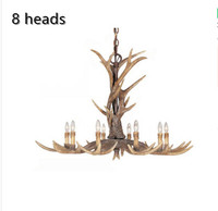Europe 8 Arms Candle Resin Antler Chandelier American Retro Deer Horn Chandeliers Home Decor Lamp Fixture E14 110 240V