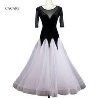 Standard Ballroom Dress Ballroom Dance Competition Dresses Flamenco Dress 1/2 Sleeve D0094 with Big Sheer Hem