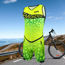 купить EMONDER Triathlon Men Cycling Jerseys Sleeveless Bicycle Skinsuit Jumpsuit Breathable Cycling Clothing Jersey New Design Green дешево