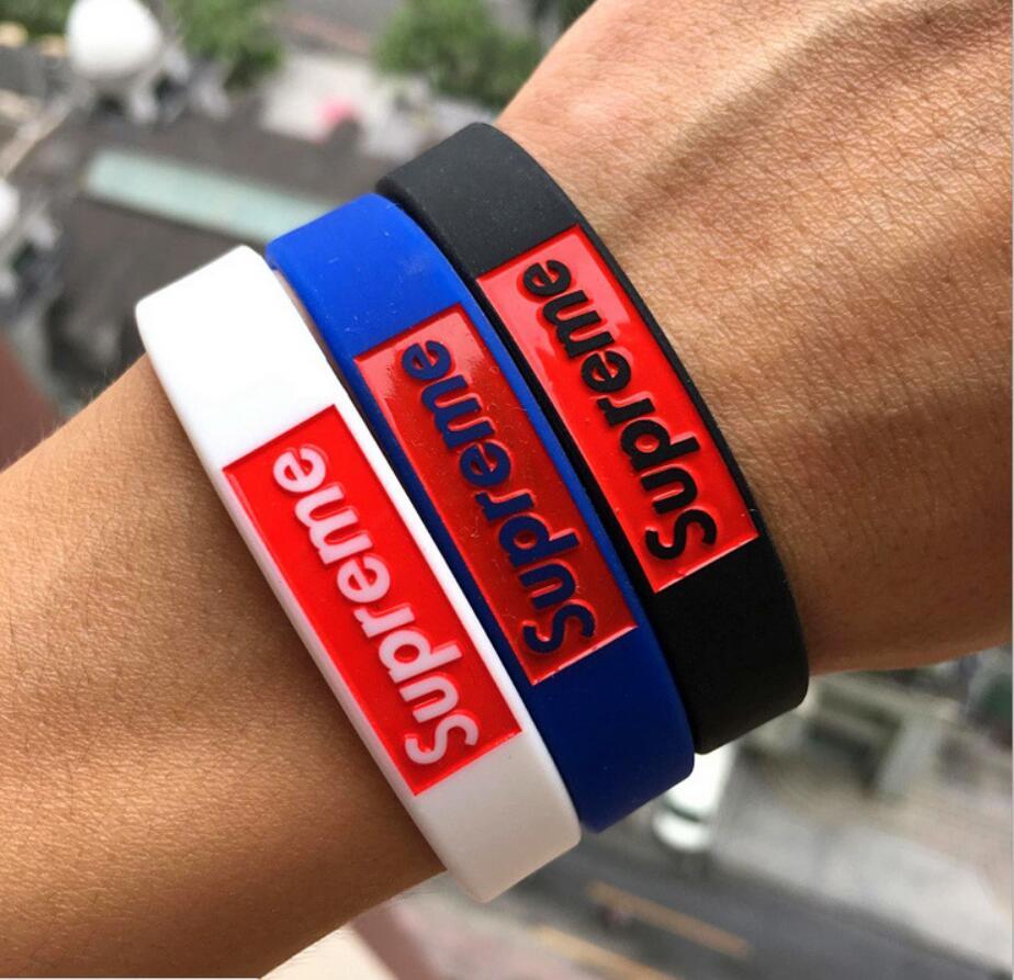 4pcs lot supreme Bracelets model 4 color sports Silicone Bracelet model Party Favors gifts MC wristband