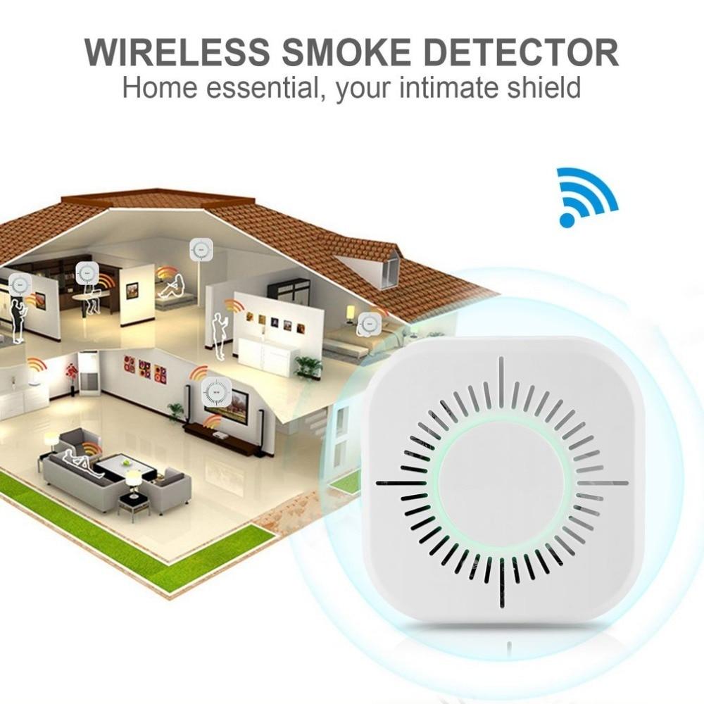 433MHz Wireless Smoke Detector Fire Protection Portable Smoke Detector Wifi Home Safe Security Smoke Alarm Sensor White
