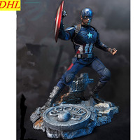 Мстители: Бесконечность Капитан Америка сцена платформа статуя супергероя Стив Роджерс смолы фигурку Коллекционная модель игрушки L2222
