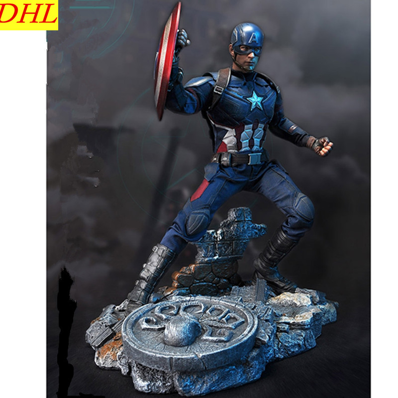 Avengers:Infinity Captain America Scene Platform Statue Superhero Steve Rogers Resin Action Figure Collectible Model Toy L2222