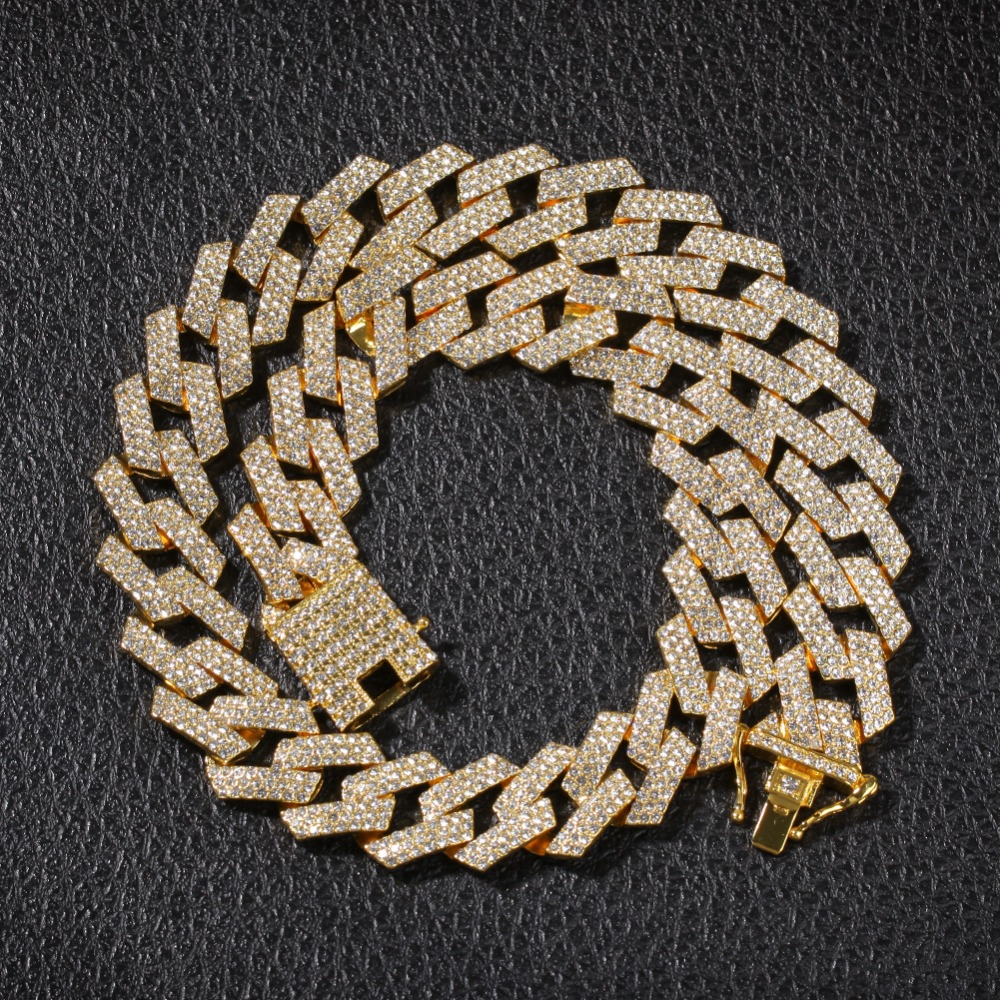 Image 5 - 2cm Hip Hop Gold Color Iced Out Crystal Miami Cuban Chain Gold 