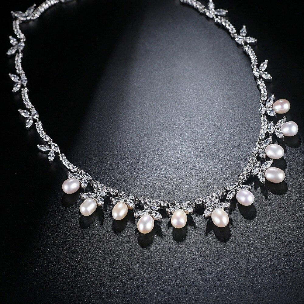 LUOTEEMI couleur argent collier de perles d'eau douce collier ras du cou bijoux de mariage ensembles accessoires réglage Invisible CZ pour Valentin - 4
