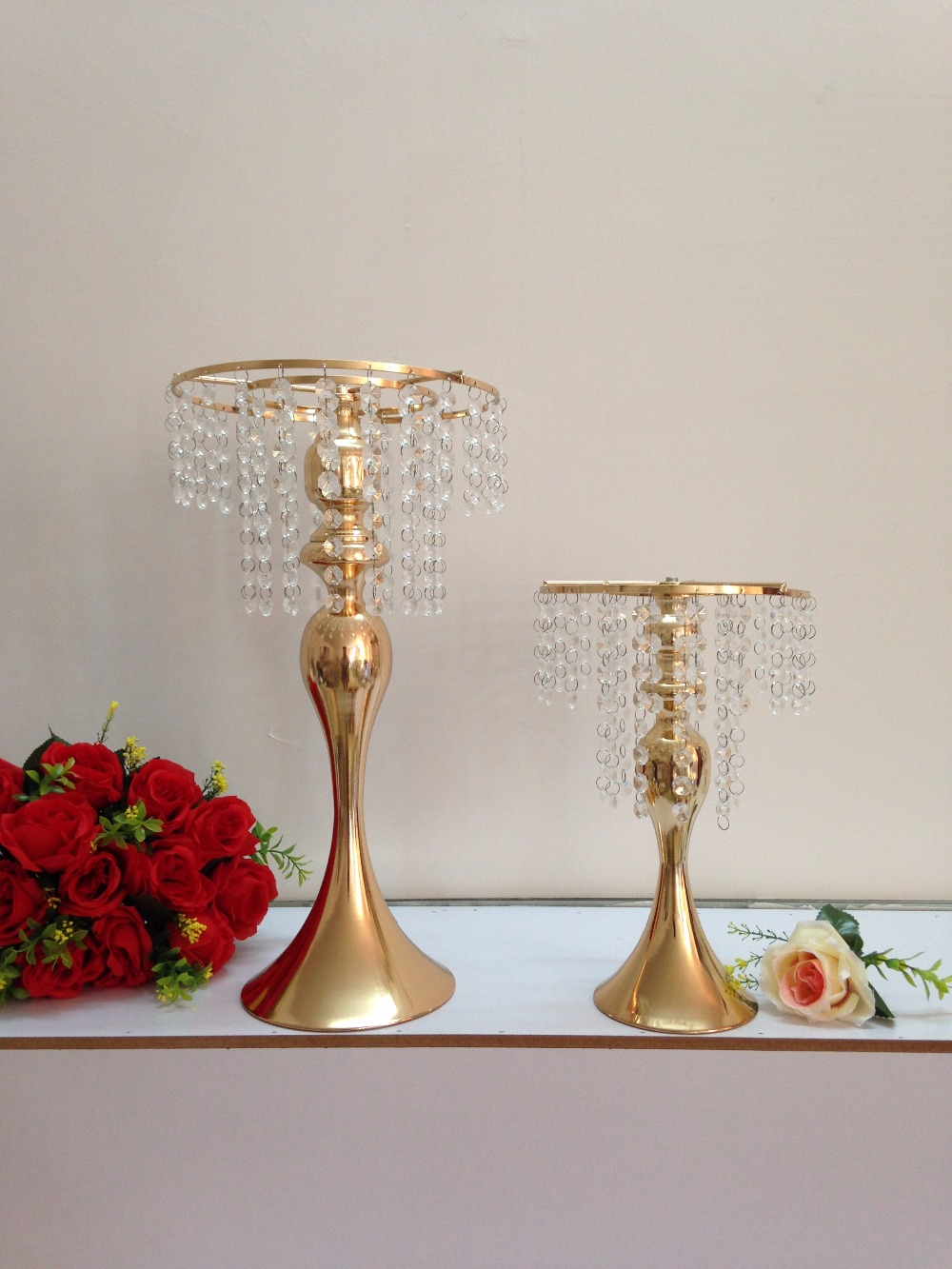 """48 cm 19 """"Big Size Gold Hochzeit blume vase hochzeits-mittel Tisch leuchter Hochzeit blume halter 10 teile/los"""