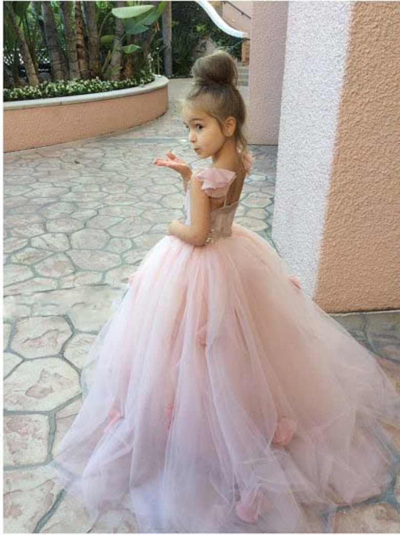 2016 lovely tulle flower girl dress pink sequined floor length 2016 lovely tulle flower girl dress pink sequined floor length layered flower girl ball gown with flowers for wedding in flower girl dresses from weddings mightylinksfo