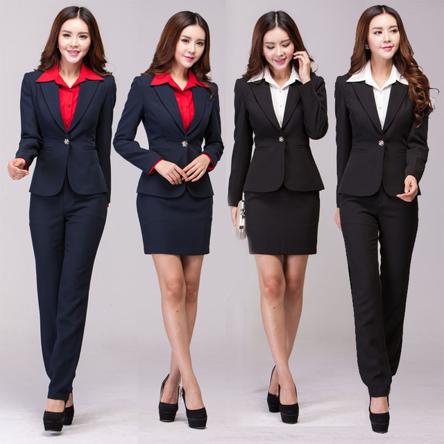 New 2015 Women Suits Formal Business Professional Office Uniform 2 Piece  Suits +Skirts/ Pants