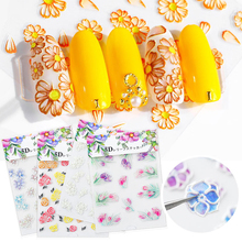 5D Nail Stickers Colorful Embossed Flowers Self-adhesive Transfer Decals Art Decorations Mixed Pattern for Nails 1 Sheet