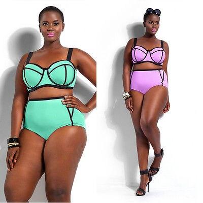 c1a02f0a6e New Women s Swimsuit Plus Size Sexy Push-Up Triangle Bikini Swimwear High  Waist