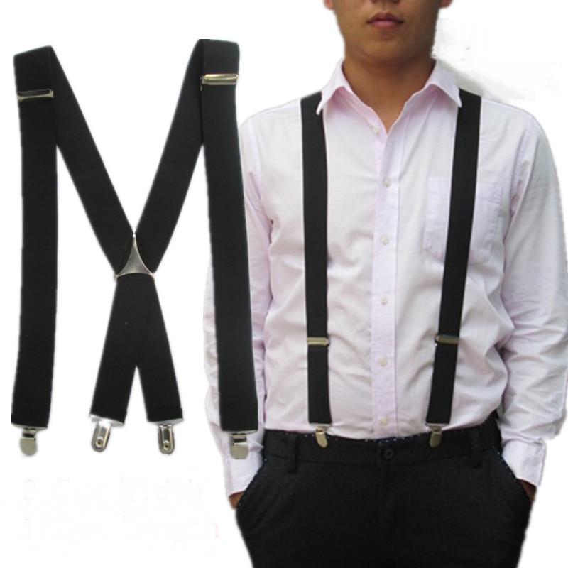 BD054-2017 New Fashion Men XL Learge Size 3.5 Width 4 Clips Suspenders Adjustable Elastic X Back Women Pants Braces Free Ship