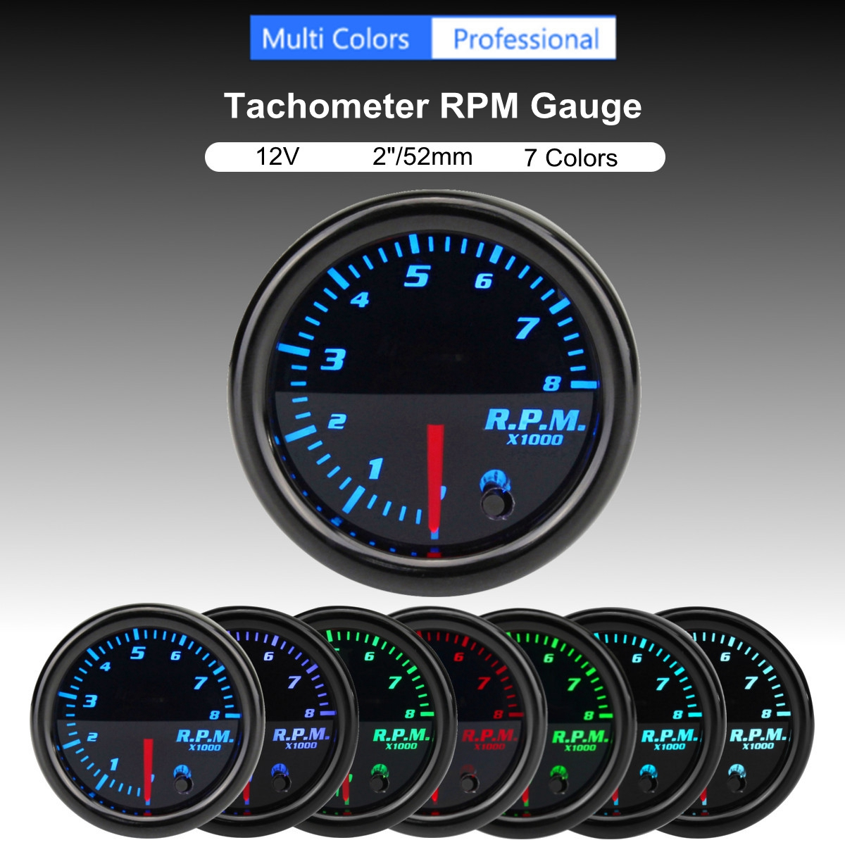 12V Universal 2 Inch 52mm Tachometer Tach RPM Gauge Digital 7 Color LED Display Car Meter hot sale 4 digital green led tachometer rpm speed meter proximity switch sensor 12v