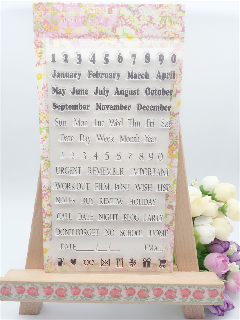 New arrival scrapbooking DIY Transparent Clear  calendar Rubber Stamp Seal Paper Craft Scrapbooking Decoration CL-008