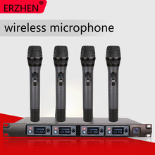 Wireless Microphone System U4000F Professional 4 Channel UHF Dynamic Handheld + Karaoke