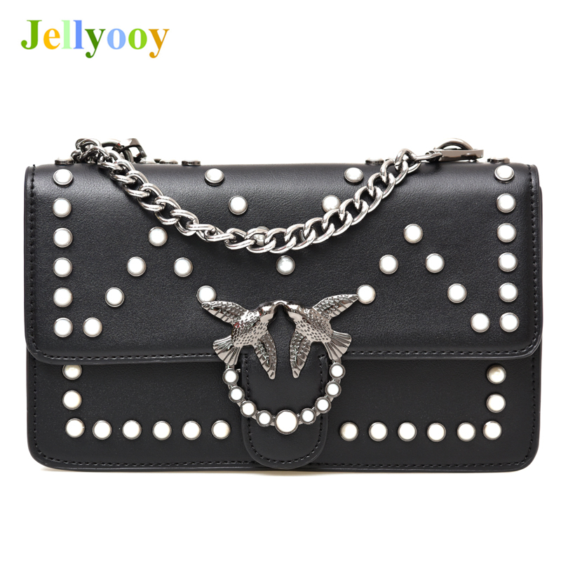Luxury Brand Women Chain Shoulder Messenger Bag Famous Designer Swallow Lock Lady Pearl Rivet Bag Handbag Clutch Purse Louis gg luxury designer brand baroque royal handbag runway lady bag purse with handle