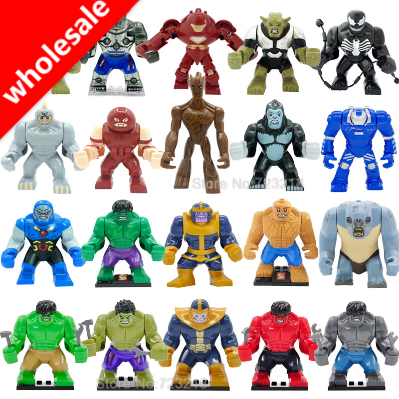 Wholesale 10pcs Super Hero Avengers Big Figures Hulk Darkseid Gorilla Grodd Ironman Mark 38 Igor Kingpin <font><b>Building</b></font> Blocks Toys