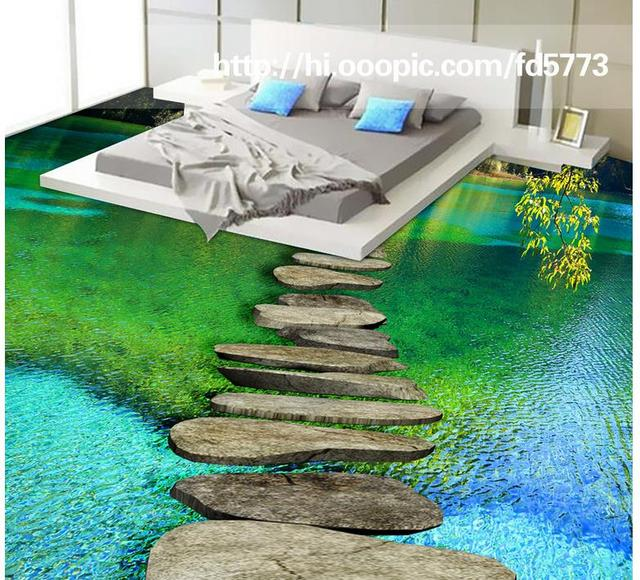 Custom Vinyl Floor Tiles Waterproof Calm Water 3d