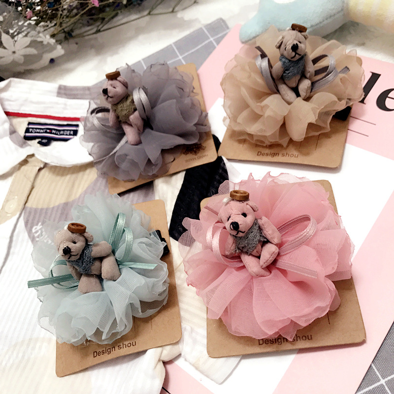 2017 Korea Lace Flower Bear Crown Hair Clip Gauze Hair Accessories lovely Doll Hairpin  for Girls Headwear Princess Hair Bow cheap 1pcs women headwear scissors comb hair clip hair accessories headpiece hairpin headwear gold silver color drop shipping