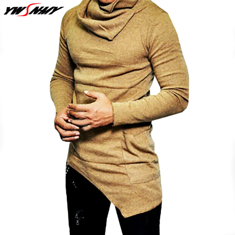 Fashion Korean Casual Heap Collar Long Sleeves Shirt Men Irregular Designer Slim Fit T Shirt Solid Color Long Section Sweater