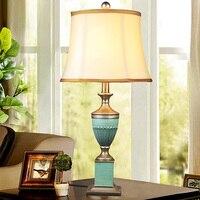 American Style Charlotte Blue Table Lamp Modern Lampshade Living Room Bedroom AC110 220V desk light