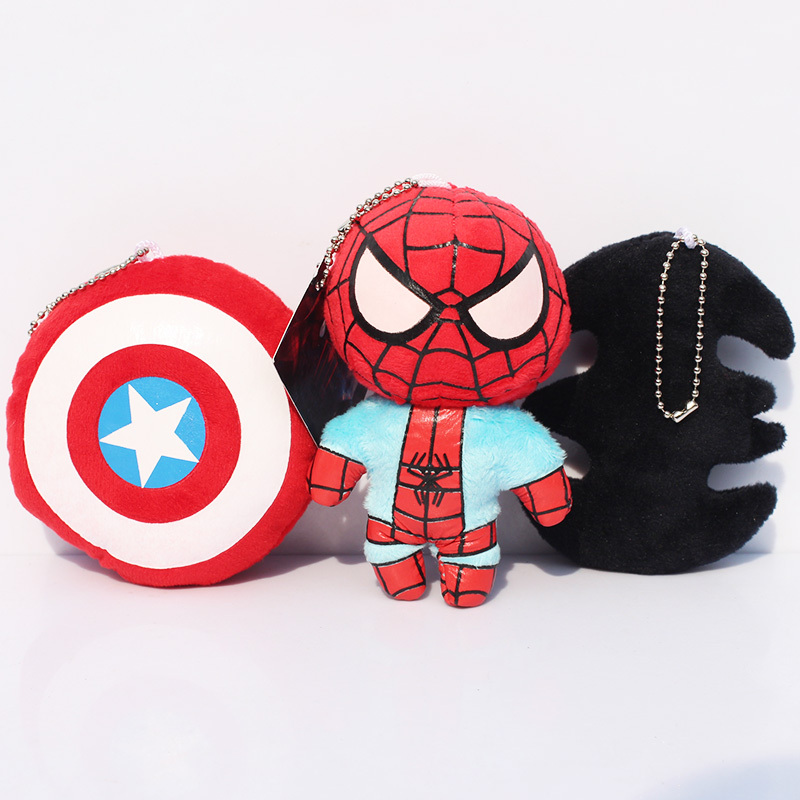 Super Hero The Avengers Captain America Spiderman Batman plush Keychain Pendant toys image