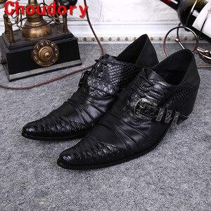 Choudory/Мужская обувь; обувь из натуральной кожи питона; sapato masculino; черные летние модельные туфли на ремешке с пряжкой; обувь для выпускного веч...