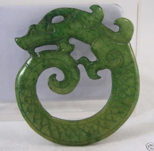 New- CHINESE OLD HANDWORK GREEN JADE CARVED DRAGON PENDANT - Jade jewelry store