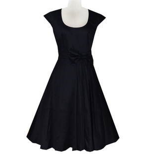 Европейская Винтаж 50 s 60 s рокабилли платье Audery Хепберн Платье хлопок качели бальное платье черный/ бордовый - Цвет: Черный
