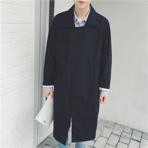 2018 Big yards men's Fashion trend male autumn medium-long solid color loose   trench   all-match male no button   trench   cardigan