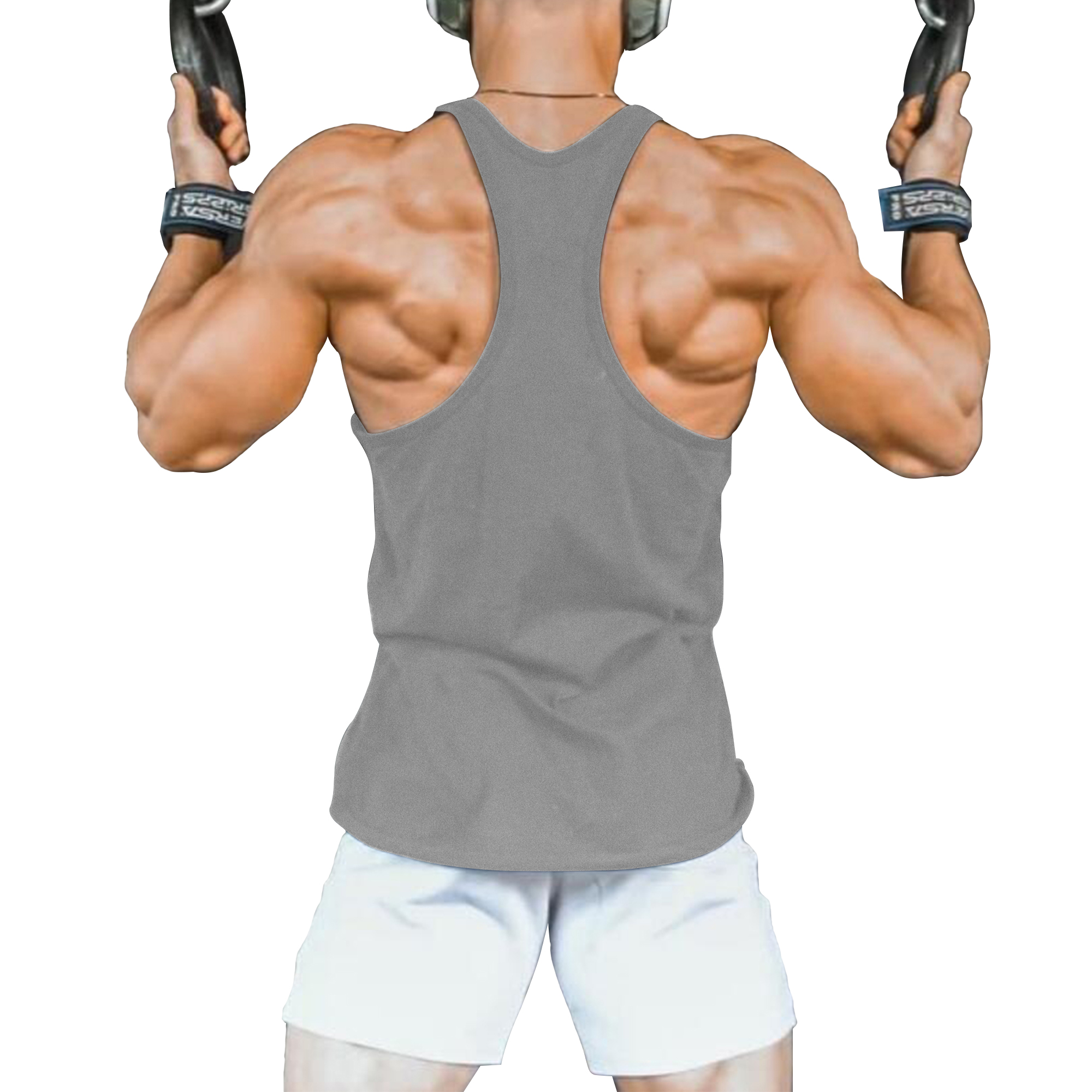 Mens Striped Racerback Y-Back T-Back Gym Bodybuilding Fitness Singlet Tank Top