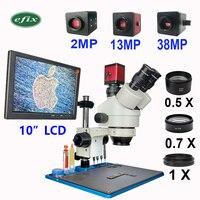 efix 10 LCD 3.5 45X 2MP 13MP 38MP HDMI VGA HD Digital Camera Trinocular Stereo Microscope Workbench Repair Mobile Phone Tools