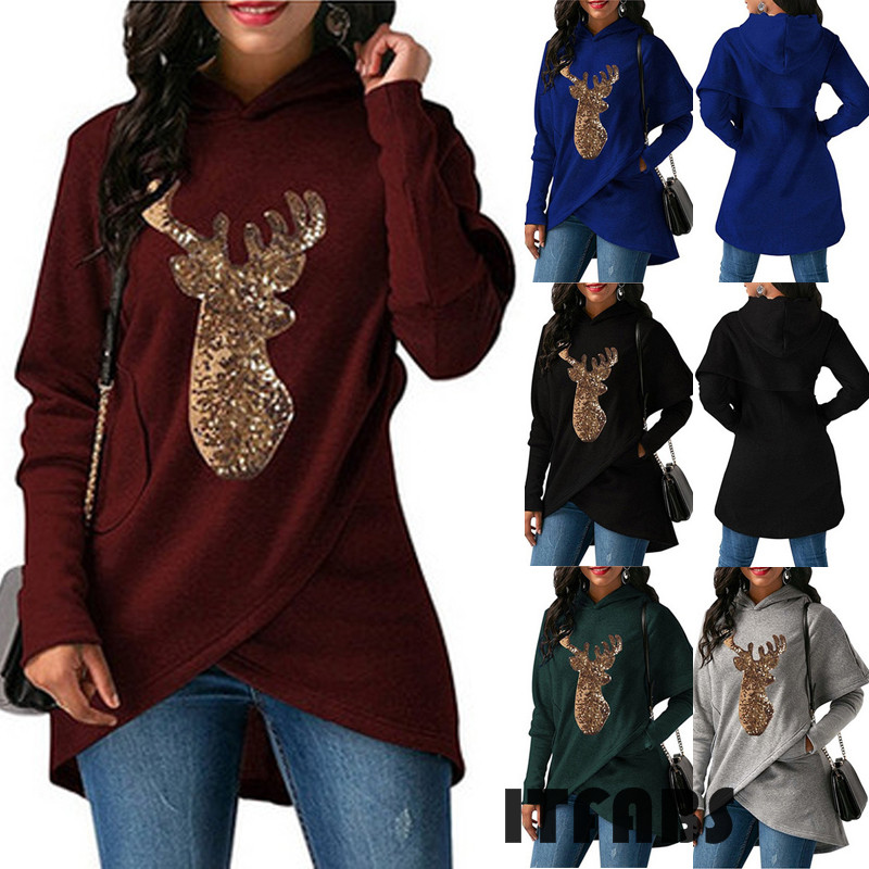 Christmas Sequined Deer Print Women Long Sweatshirt Jumper  Hooded Pullover Irregular Long Sleeve Hoodies Top