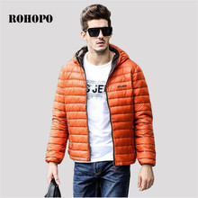 ROHOPO 4XL M hooded fill white duck down keep warmly male causal outwear solid Light