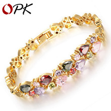OPK Multicolor Cubic Zirconia Mona Lisa Woman Bracelets Vintage Gold Plated Heart Design Women Link Chain Jewelry Gift KS950
