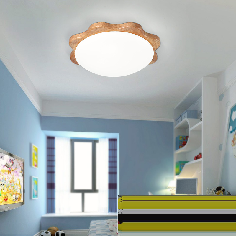 где купить LED Sun Flower Korean Wooden Acrylic LED Lamp LED Light Ceiling Lights Ceiling Lamp LED Ceiling Light For Kids Room Foyer дешево