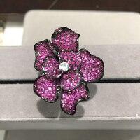 Коктейльное кольцо стерлингового серебра 925 пробы с фианит Цветочная кольцо Pave розово красный преувеличивать указательный палец кольцо ро