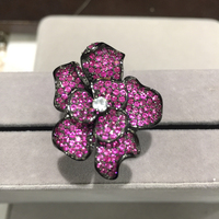 Cocktail ring 925 sterling silver with cubic zircon flower ring pave rose red exaggerate index finger ring romantic fashion