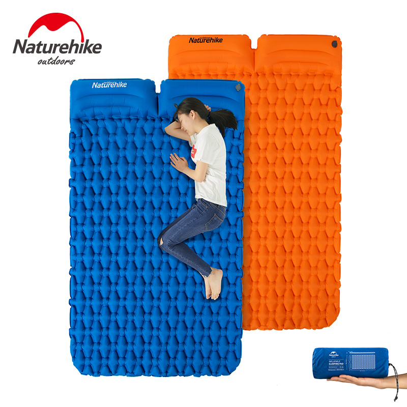 Naturehike Outdoor Camping Mat With Pillow Ultra light Portable Mattress Inflatable Mat Double Sleeping Pad Moisture