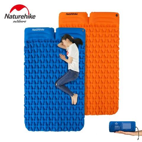 naturehike ao ar livre camping mat com pillow portatil ultra leve colchao inflavel tapete almofada dupla