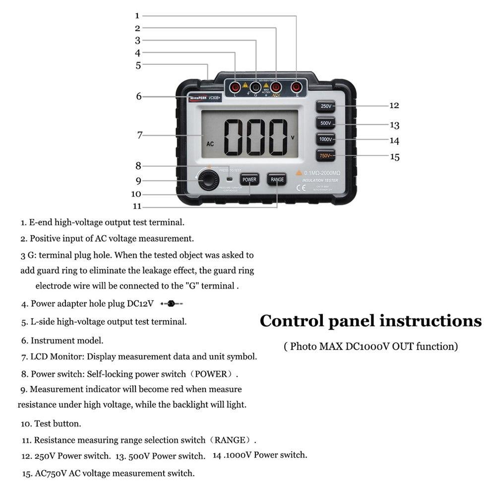 VC60B + testeur de résistance à l'isolation numérique compteur de terre mégger megohmmètre voltmètre Portable multimètre