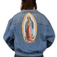 Девы Марии задней шить/термоклейкая заплата вышитая аппликация Швейные Этикетка панк нашивка для байкеров наклейки для одежды аксессуары ...
