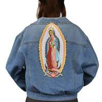 Virgin Mary Iron On Patch Embroidered Applique Sewing Label punk biker Patches Clothes Stickers Apparel Accessories Badge