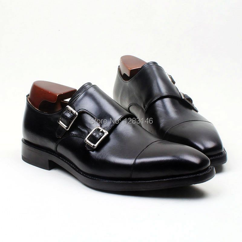 obbilly Custom Handmade Leather Upper/outsole/Insole Black Double Monk Strap Square Captoe Toe Men's Flats Shoe No.MS108