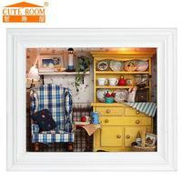 2016 Vendita Nuova Decorazione Della Casa Artigianato Fai Da Te Doll House Case di Legno Miniatura della Mobilia del Dollhouse Kit Room Luci Led Photo Frame