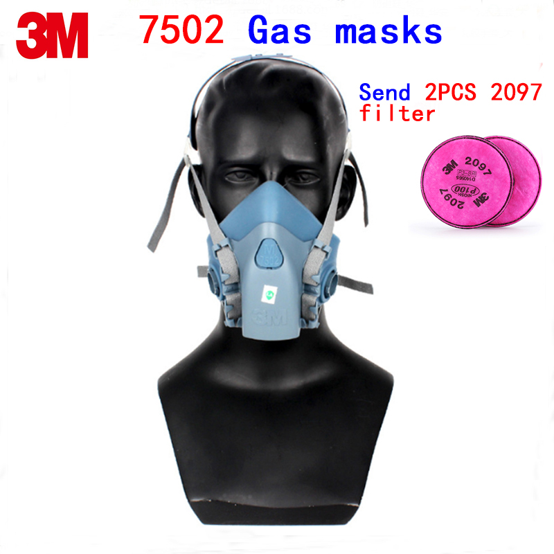 3M 7502 respirator mask high quality Silica gel Cold flow design protective mask against Painting gas maske Send 2097 filter 7502 of reusable respirator mask gas mask portable respirator protective fire masks