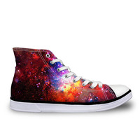 NoisyDesigns Starry Sky Printing High Top Vulcanized Shoes Fashion Women Flatform leisure Canvas Shoes Lace up High top Shoes